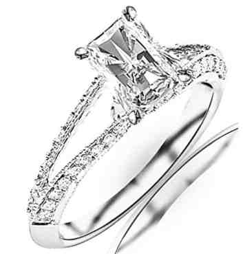 1.2 Carat t.w. GIA Certified Radiant Cut 14K White Gold Split Shank Pave Set Diamond Engagement Ring (I-J Color SI1-SI2 Clarity)