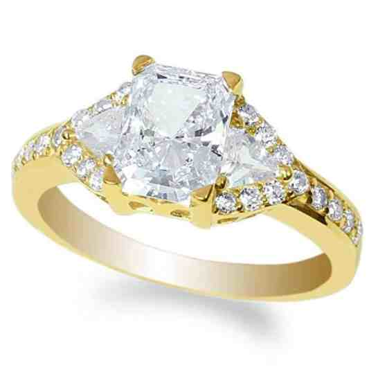 JamesJenny Ladies 10K Yellow Gold 1.8ct Radiant CZ Beautiful Engagement Solitaire Ring