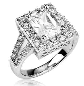 Sterling Silver Ring Radiant Cut Cubic Zirconia CZ Ring 3.3 ct.tw - Nickel Free Engagement Wedding Ring