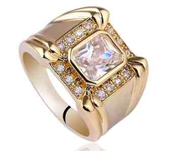 Yellow Gold Plated 7x9mm Radiant Cut Clear CZ Men Ring Big Band