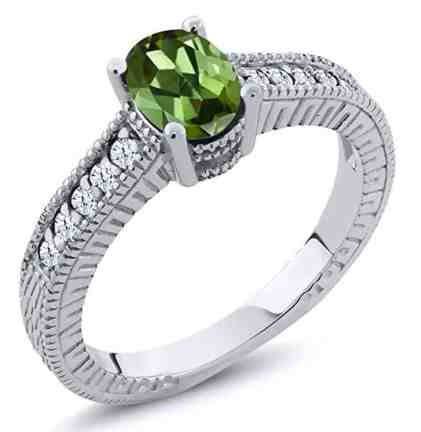 1.25 Ct Oval Green Tourmaline White Created Sapphire 14K White Gold Ring