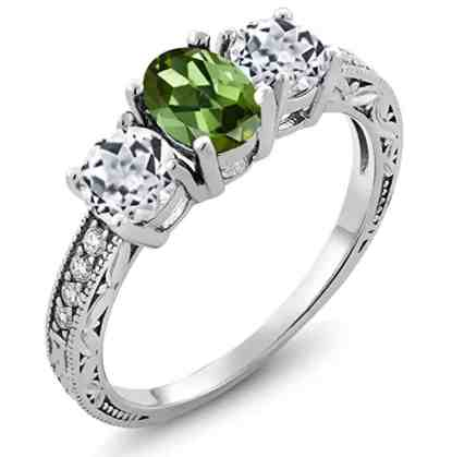 1.82 Ct Oval Green Tourmaline White Topaz 14K White Gold Ring
