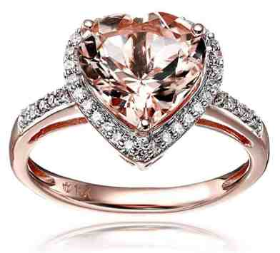 10k Rose Gold Morganite and Diamond Heart Halo Engagement Ring
