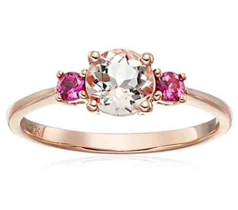 10k Rose Gold Morganite and Pink Tourmaline Solitaire Engagement Ring