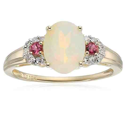10k Yellow Gold Ethiopian Opal, Pink Tourmaline and Diamond 3-Stone Engagement Ring