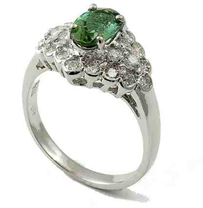 14K White Gold Genuine Green Tourmaline Ring