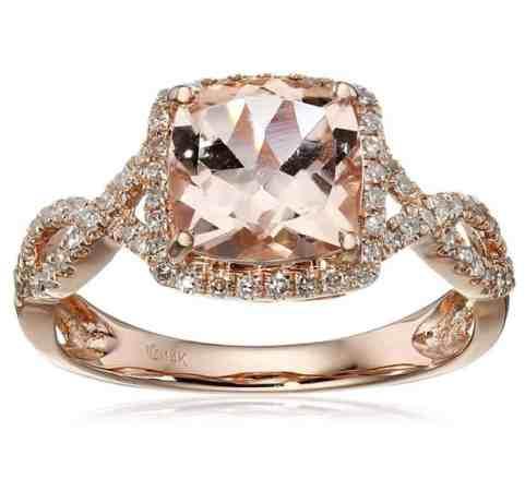 14k Rose Gold Morganite and Diamond Cushion Infinity Ring
