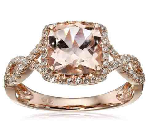 14k Rose Gold Morganite and Diamond Cushion Infinity Ring