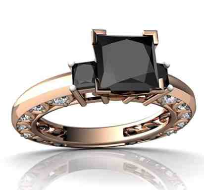 14kt Gold Black Onyx and Diamond 3mm Square Art Deco Ring