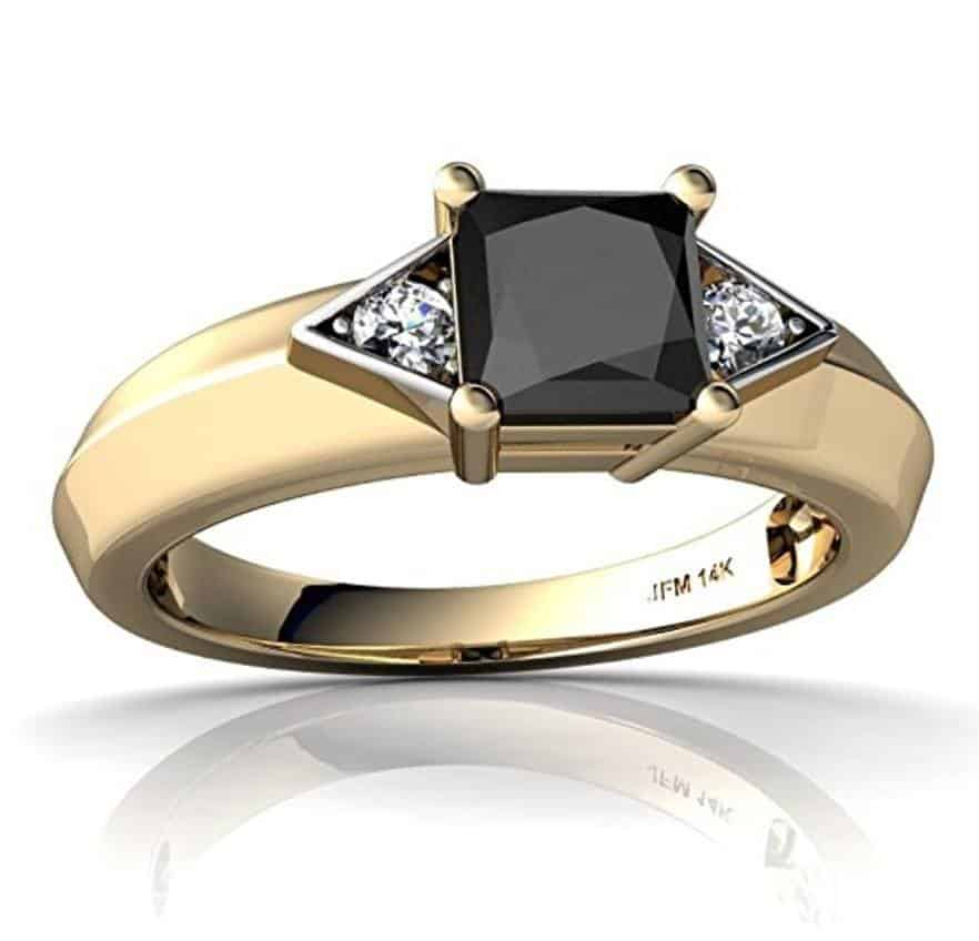 Good 14k Art Deco Gold Ring With Black Onyx And Diamond