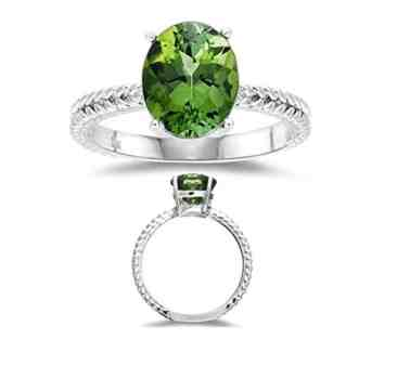 2.85 Ct 10x8 mm AA Oval Green Tourmaline Solitaire Ring in 14KW Gold