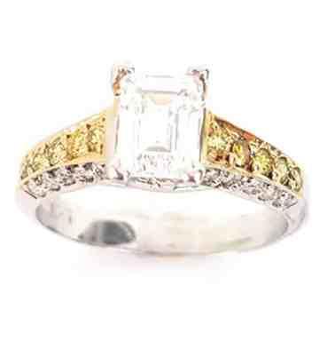 Emerald Cut Semi-Mount Yellow & White Diamond 18k Engagement Wedding Ring Two-Tone