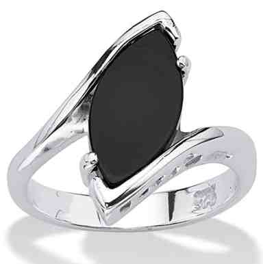 Marquise-Shaped Genuine Black Onyx .925 Sterling Silver Classic Ring