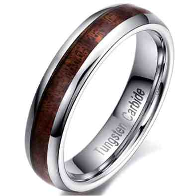 Men Women 5mm Tungsten Carbide Vintage Wedding Ring Acacia Wood Inlay Engagement Promise Band Comfort Fit