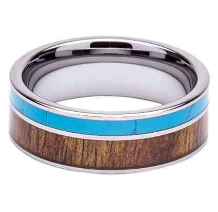Tungsten Ring Inlaid with 100% Natural Koa Wood and Solid Turquoise - Extremely Unique