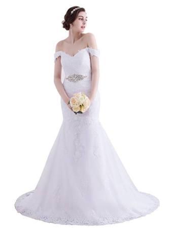 Beauty Bridal Elegant Off-Shoulder Lace Bridal Gowns White Wedding Dresses 2016