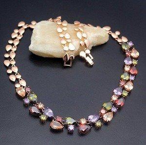 Chain Necklace Rose Gold 925 Sterling Silver Gemstone Amethyst Morganite Garnet Gifts 20