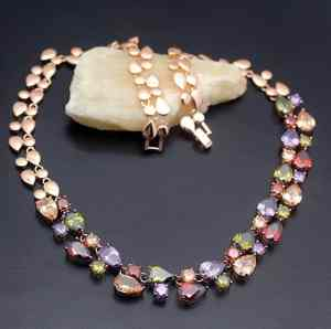 Chain Necklace Rose Gold 925 Sterling Silver Gemstone Amethyst Morganite Garnet Gifts 20