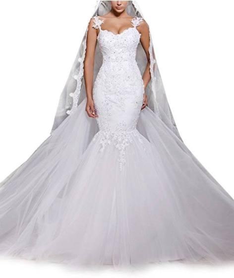 Dreamdress Women' Mermaid Lace Backless Spaghetti Wedding Dresses Bridal