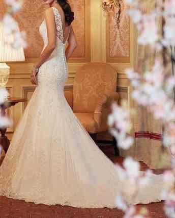 Elley Women's Jewel Neckline Mermaid Straps Lace Chapel Train Long Wedding Gown