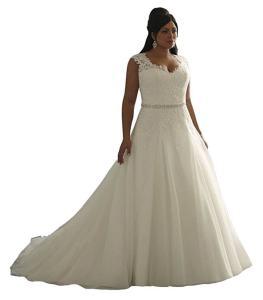 EnjoyBuys Women's Clasic Aplliques A Line Wedding Dresses Bridal Gown Plus Size
