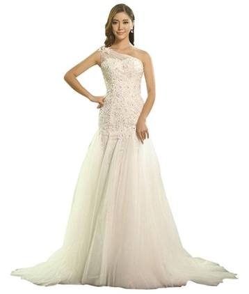 MyTurn One Shoulder Tulle Trumpet Gown Wedding Dress with Lace Appliques