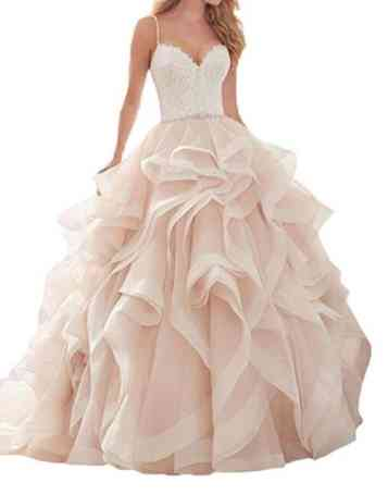 Queenbridal Blush Pink Bridal Gown Ruffles Organza Lace 2017 New Wedding Dresses