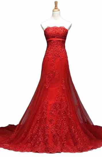 Vimans Long Red Strapless Beaded Lace Bridal Dress for Wedding Evening Gown