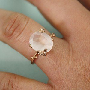 rose gold with gemstone