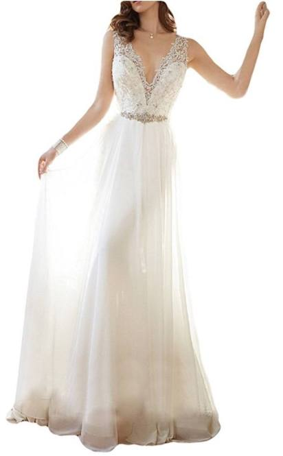OYISHA Women's V-neck Lace Beach Wedding Dress Chiffon Beaded Bridal Gown 90WD