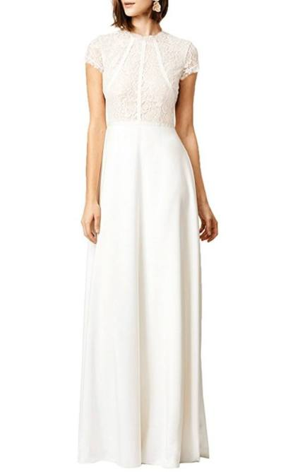 WOOSEA Women's Retro Floral Lace Wedding Maxi Bridesmaid Long Dress