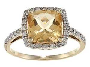 citrine and halo diamond