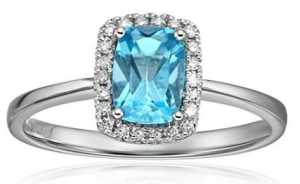 cushion cut gemstone with diamond halo