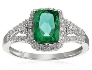 cushion simulated emerald with white diamonds