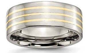 titanium band with gold stripe inlay