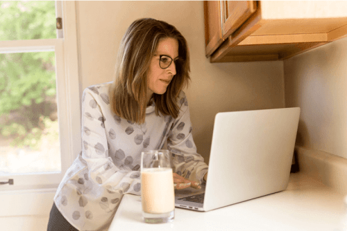 women researching online