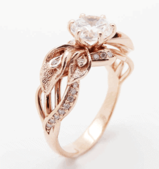 Calla Lily Moissanite Engagement Ring
