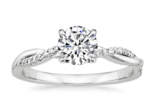 petite twisted diamond ring