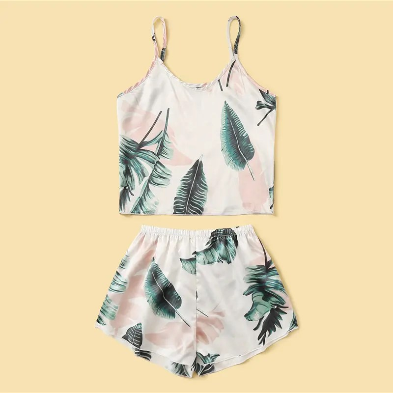 Women's Tropical Printed Satin Pyjamas Set