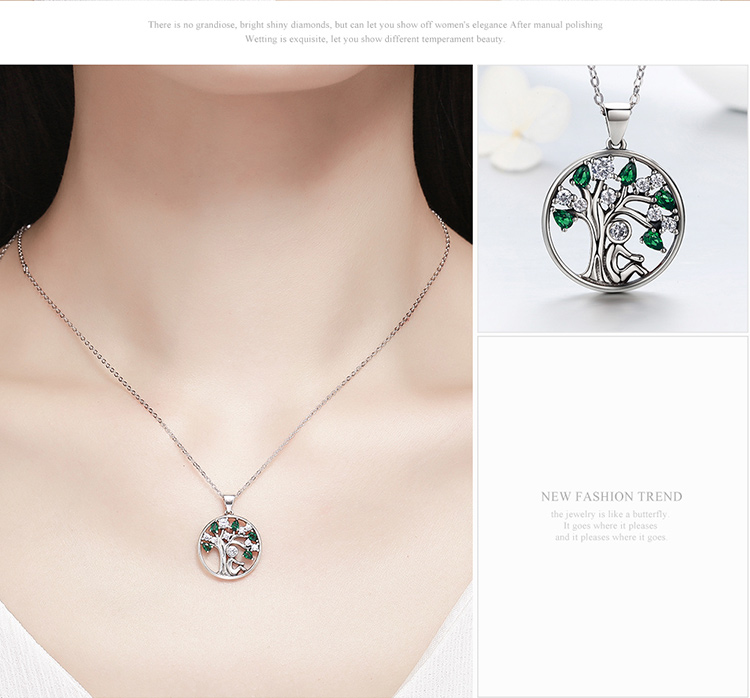 Tree of Life Round Silver Women's Pendant Necklace