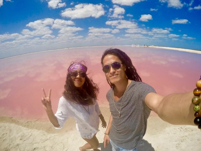 pink lagoon selfie