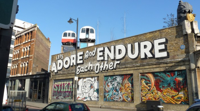 Creatives' offices in old Tube carriages Gt Eastern St Shoreditch © ∂å