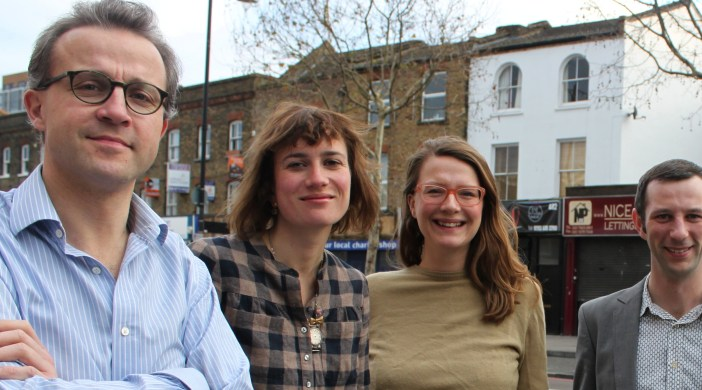 Andreas Wesemann (left), Sophie Solomon, Phillippa De'Ath and Andrew Tetlow meet in Dalston © Esra Turk