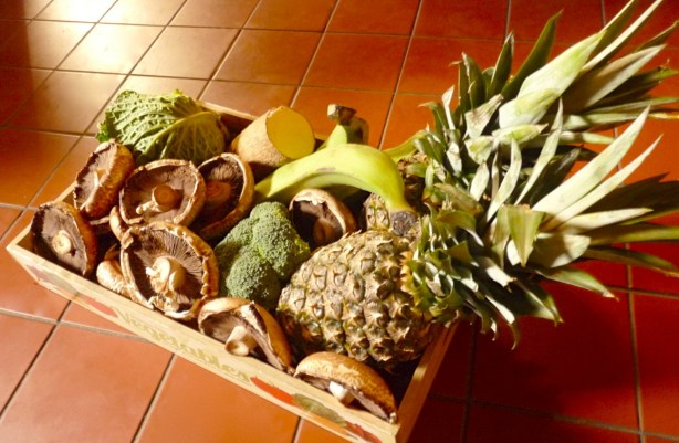 Bountiful basket: just look at the number of delicious mushrooms bought in the market and with the pineapples — all for about a fiver