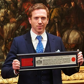 Damian Lewis with the Freedom of the City of London for outstanding achievements in acting. Supplied pic
