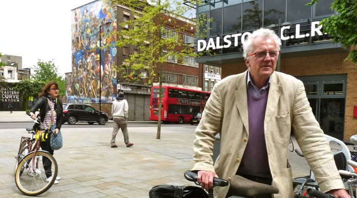 Christian: Wolmar, would-be Labour London mayoral candidate, arrives in Dalston Lon E8 to be interviewed by Loving Dalston 070514 © david.altheer@gmai