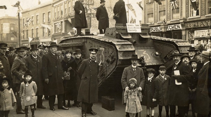 David Mander's  A Hackney Century p36 captions the picture, saying it was a tank day 16 March 1918; the Mayor was Herbert Ormond; there was a lottery; and brass band playing Hearts of Oak - and raised over £112,000 in war bond purchases © Hackney Archives