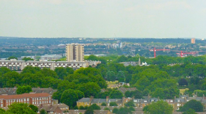 """Matalan tower and """"windmill"""" (Andrew Waugh, arch.) . Blue top right is Hackney Downs Mossbourne Community Academy Dalston London E8 (dalston Ln July 2"""