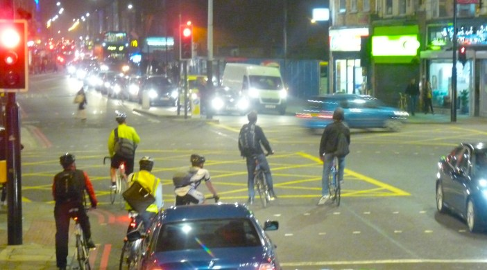 Male cyclists at Dalston Junction Hackney E8 2013 © david.altheer@gmail.com