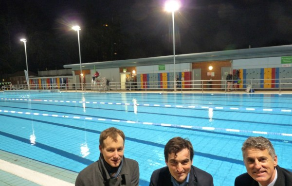Paralympics swimmer Dervis Konuralp, left, Hackney Cllr Jonathan McShane and GLL executive Peter Bundy @ London Fields Lido floodlight switch-on 11121 © david.altheer@gmail.com